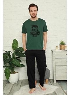 Pemilo Erkek 6160-5 Desenli Cepli Kısa Kol Pijama Takımı YEŞİL